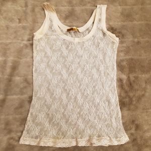 D. Exterior like new intricate lace tank top